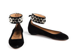 Peggy Ankle Flat in Black Velvet